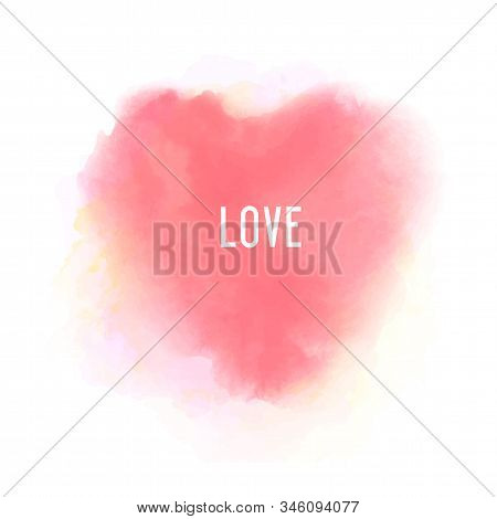 Beautiful Wedding Invitation Template For Decorative Design. Isolated Vector, Pink Heart Watercolour