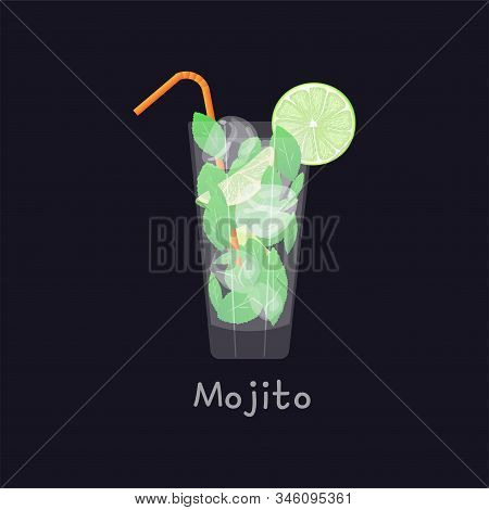 Mojito Summer Beach Refreshing Tropical Cocktail In Glass With Soda Water, Lime Juice, Mint Leaves,