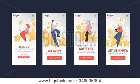 Feedback, Survey Vector Flat App Concept With People, Man And Woman Sitting On Big Rating Stars, Wri