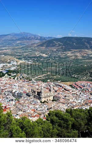 View Across The City Rooftops With The Cathedral In The Centre, Jaen, Jaen Province, Andalucia, Spai
