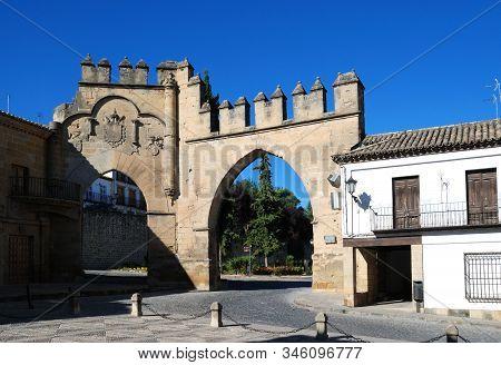 View Of The Arco De Villalar With The Puerta De Jaen To The Right In The Plaza De Populo, Baeza, Jae