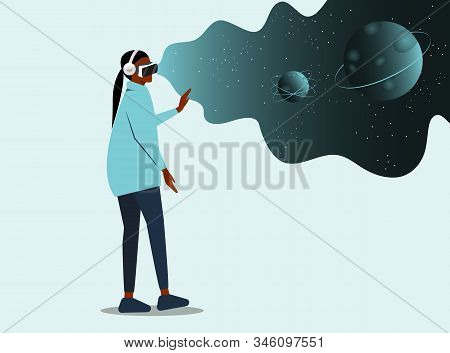 Virtual reality Cartoon African American woman Character Wearing VR Headset Glasses. place for text. Augment Reality and Imaginary Universe. Astronomy Studying. High Technology. Vector Flat Illustration virtual reality