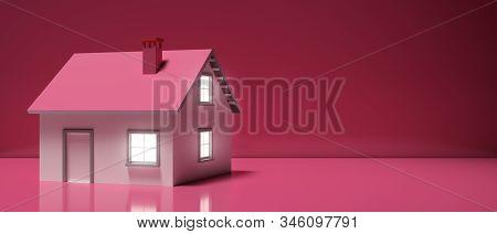 House Miniature Illuminated Against Pink Background. 3D Illustration