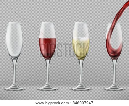 Realistic Set Of Tall Glasses Empty, With Pouring Red Wine, White Merlot Or Champagne Isolated On Ba