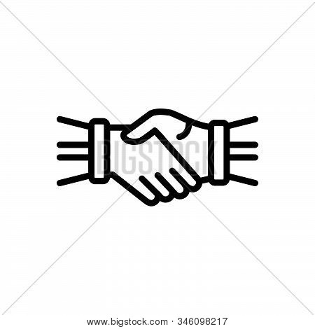 Black Line Icon For Hand-shake Hand Shake Join-hands Corporate Team