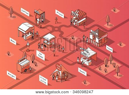 3d Isometric Food Courts, Fair With People. Shops With Sushi, Pizza And Other Food In Park, Tree. Ma