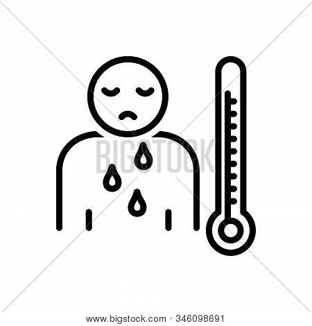 Black Line Icon For Malaise Illness Sickness Ailment Malady