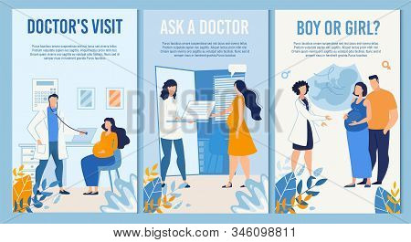 Vertical Banner Set Advertising Maternal Prenatal Services For Young Family Childbirth Preparation,