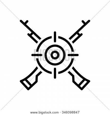 Black Line Icon For Marksman Sharpshooter Tirailleur Target Gun