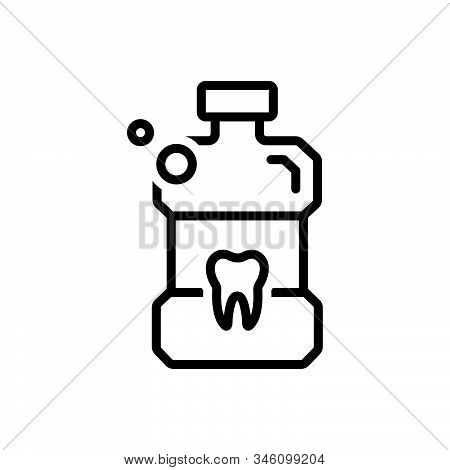 Black Line Icon For Listerine Mouthwash Bottle Antiseptic Teeth Cleanliness