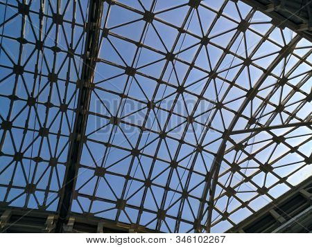 abstract futuristic construction with metal and glass modern roof hi tech architecture