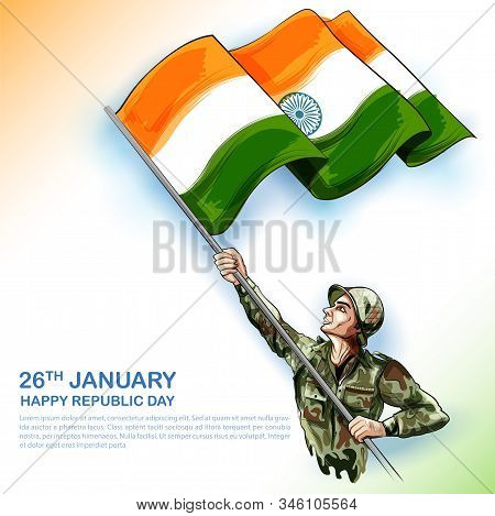 Illustration Of Indian Army Soldier Nation Hero On Pride Background For Happy Republic Day Of India