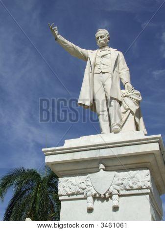 Jose Marti Statue Closeup In Cienfuegos Central Park