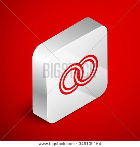 Isometric Line Wedding Rings Icon Isolated On Red Background. Bride And Groom Jewelery Sign. Marriag