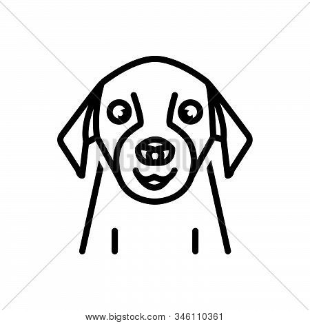 Black Line Icon For Pet Tame Domestic Home-animal Dog Faithful Animal