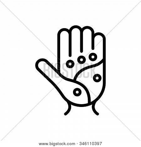 Black Line Icon For Point Spot Palm Acupressure Acupuncture