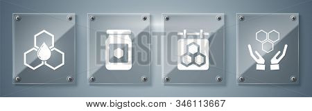Set Honeycomb And Hands, Hanging Sign With Honeycomb, Jar Of Honey And Honeycomb. Square Glass Panel