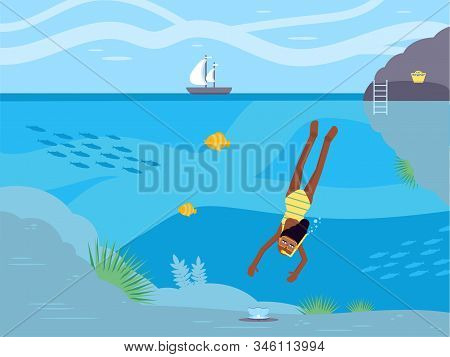 Scuba Diving Hobby Flat Vector Illustration. African American Woman In Swimming Mask Cartoon Charact