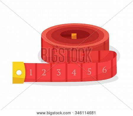 Rolled Up Measuring Tape Flat Vector Illustration. Sewing Craft Attribute, Dressmaking Workshop Equi