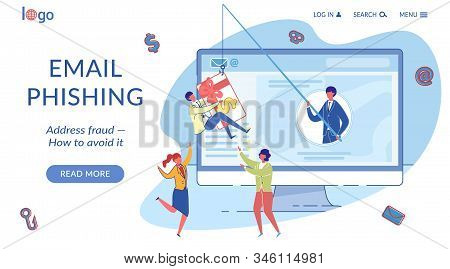 Email Phishing Landing Page Flat Vector Template. Internet Fraud Avoiding. Cybercrime, Online Scam W