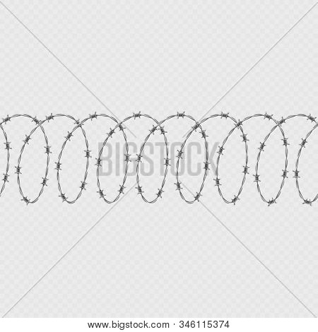 Set Of Spiral Shape Barbed Wire Isolated On Transparent Background. Horizontal Seamless Pattern With