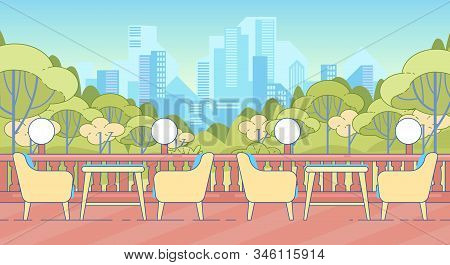 Empty Table And Chairs On Terrace With Balustrade. Hotel Restaurant Or Cafe Exterior. Lunch Dinner O