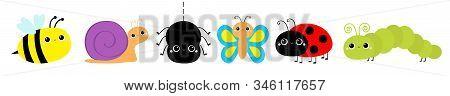 Insect Set Line. Ladybug Ladybird, Butterfly, Green Caterpillar, Spider, Honey Bee, Snail. Cute Cart