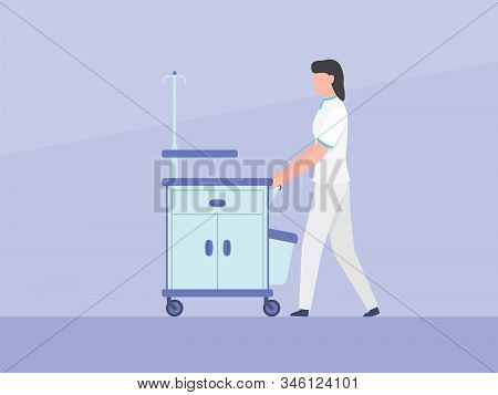 Nurse Push Trolley Box Cabinet Cart With Medical Instrument Stuff With Simple Flat Style Vector Grap