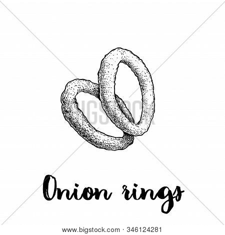 Onion Rings Sketch. Hand Drawn Fried Snack. Street Fast Food Vector Illustration. Isolated On White