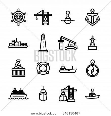 Marine Port Sign Black Thin Line Icon Set Include Of Anchor, Container, Boat, Crane And Compass. Vec