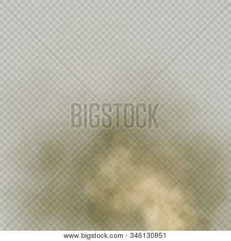 Effect Beige Dust Or Powder On Transparent Background. Dry Soil Explosion. Brown Smoke Particle Exha