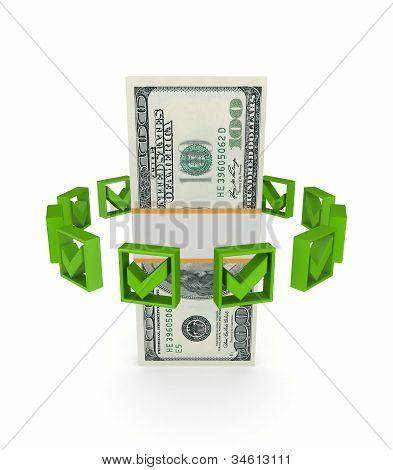 Green tick marks around dollar pack.