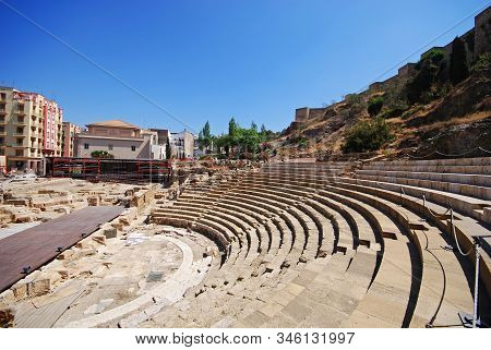 Malaga, Spain - July 11, 2008 - View Of The Roman Amphitheatre In The City Centre Overlooked By The