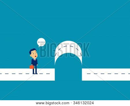 Businessman With Break Barriers. Concept Cute Business Vector Illustration, Barriers, Flat Business