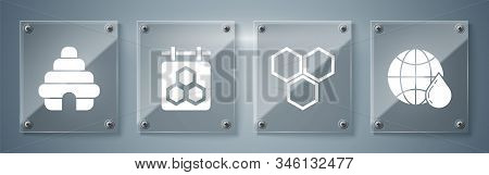 Set Honeycomb Map Of The World, Honeycomb, Hanging Sign With Honeycomb And Hive For Bees. Square Gla