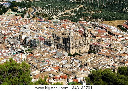 Jaen, Spain - July 28, 2008 - View Across The City Rooftops With The Cathedral In The Centre, Jaen,