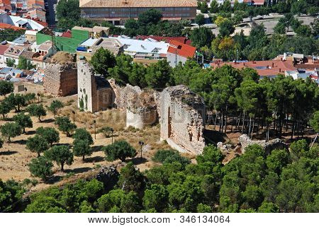 Jaen, Spain - July 28, 2008 - Elevated View Of The Ruins Of The Old Fortification, Jaen, Jaen Provin