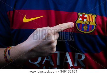 France - January 21, 2020. - Fc Barcelona, Spanish Football Club, Logo On Jersey