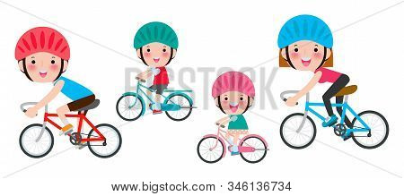 Set Of Diverse Family Riding Bikes Isolated On White Background. Happy Family Riding Bikes, Sports F
