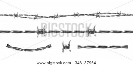 Barbed Wire Illustration, Horizontal Seamless Pattern And Separate Elements Of Barbwire Isolated On