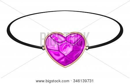 Black Circlet, Bracelet Or Armlet With Pink Heart Shape Gemstone Rose Quartz, Tourmaline Or Sapphire
