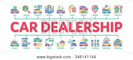Car Dealership Shop Minimal Infographic Web Banner Vector. Car Dealership Agreement And Document, Au