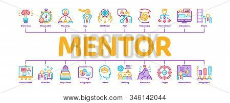 Mentor Relationship Minimal Infographic Web Banner Vector. Human Holding Key And Gear, Stopwatch And