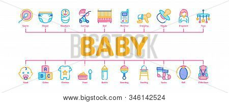 Baby Clothes And Tools Minimal Infographic Web Banner Vector. Baby And Pregnancy Woman, Stroller And