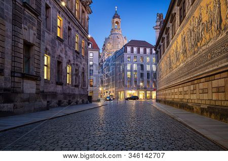 Dresden, Germany. Image Of Dresden, Germany With The Dresden Frauenkirche  During Twilight Blue Hour