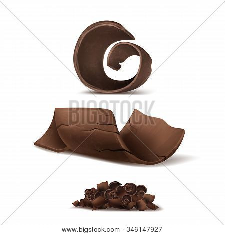 3d Realistic Chocolate Shavings. Brown Delicious Cuttings For Packaging, Package Template. Cocoa Tas