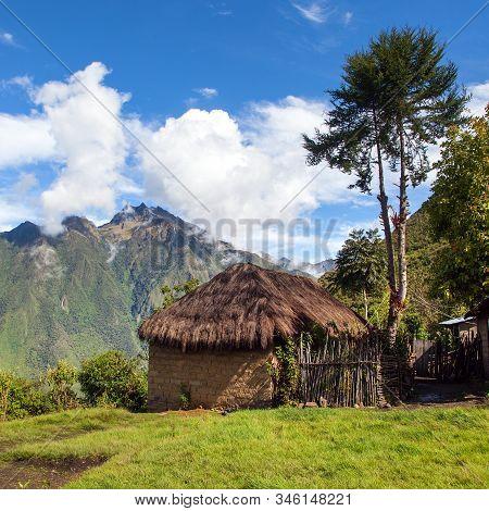 Beautiful House Home Building, View From Choquequirao Trekking Trail, Cuzco Area, Machu Picchu Area,