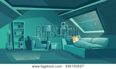 Cartoon Attic Room At Night With Boy Sleeping On Sofa, Modern Loft Apartment Under Wooden Roof. Bedr