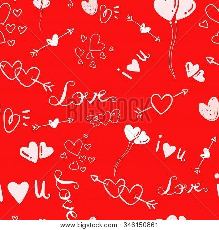 Cute Valentines Seamless Pattern With Hearts On Red Hite Background