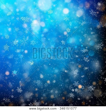 Abstract Bright White Shimmer Lights And Snowflakes. Scatter Falling Round Particles Light. Eps 10